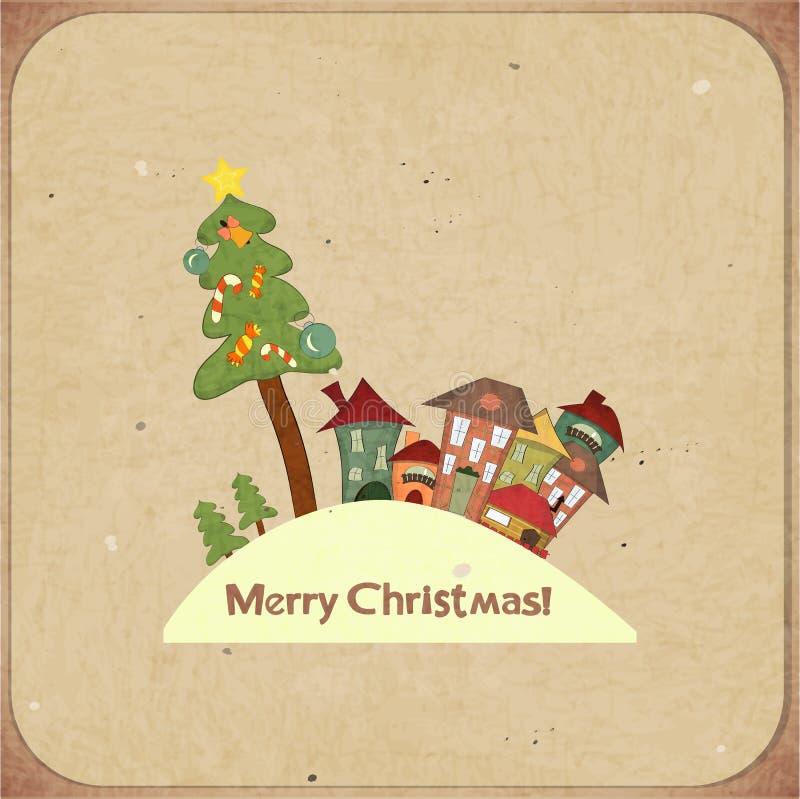Карточка рождества ретро с домами бесплатная иллюстрация