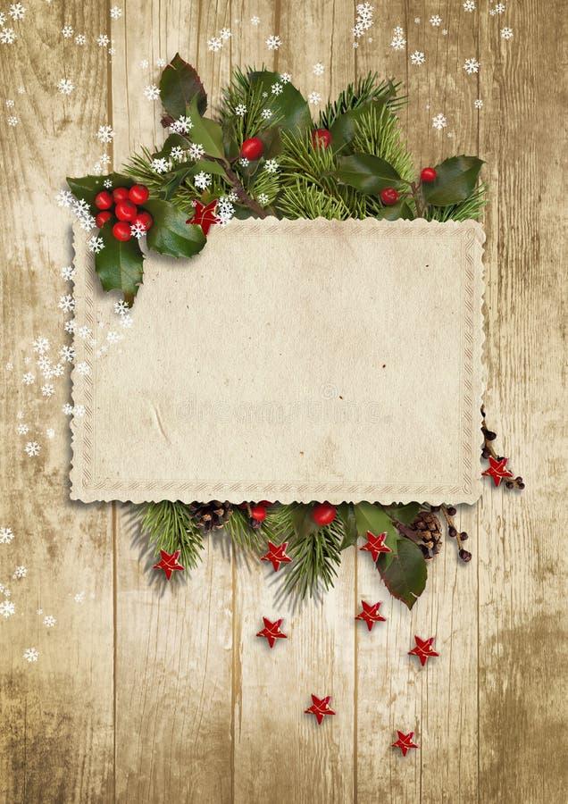 Карточка рождества винтажная с падубом, елью иллюстрация вектора
