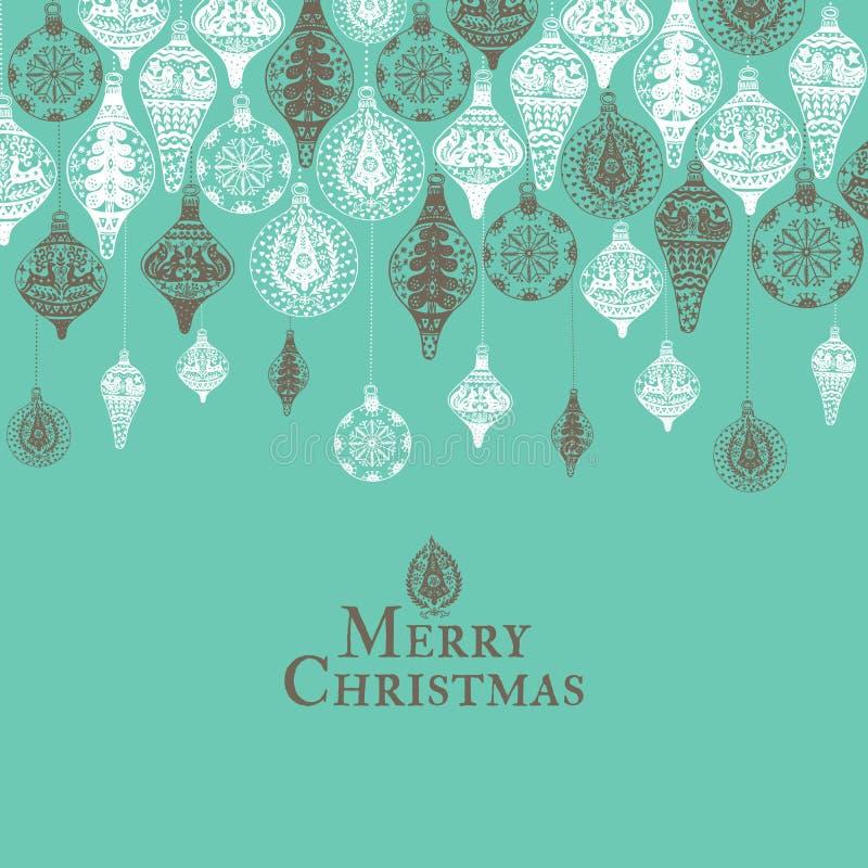Карточка рождества винтажная с с нарисованным рукой украшением рождества иллюстрация штока