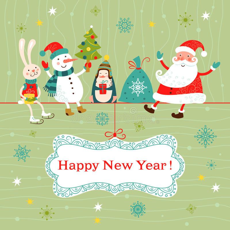 Карточка рождества и Нового Года. иллюстрация штока