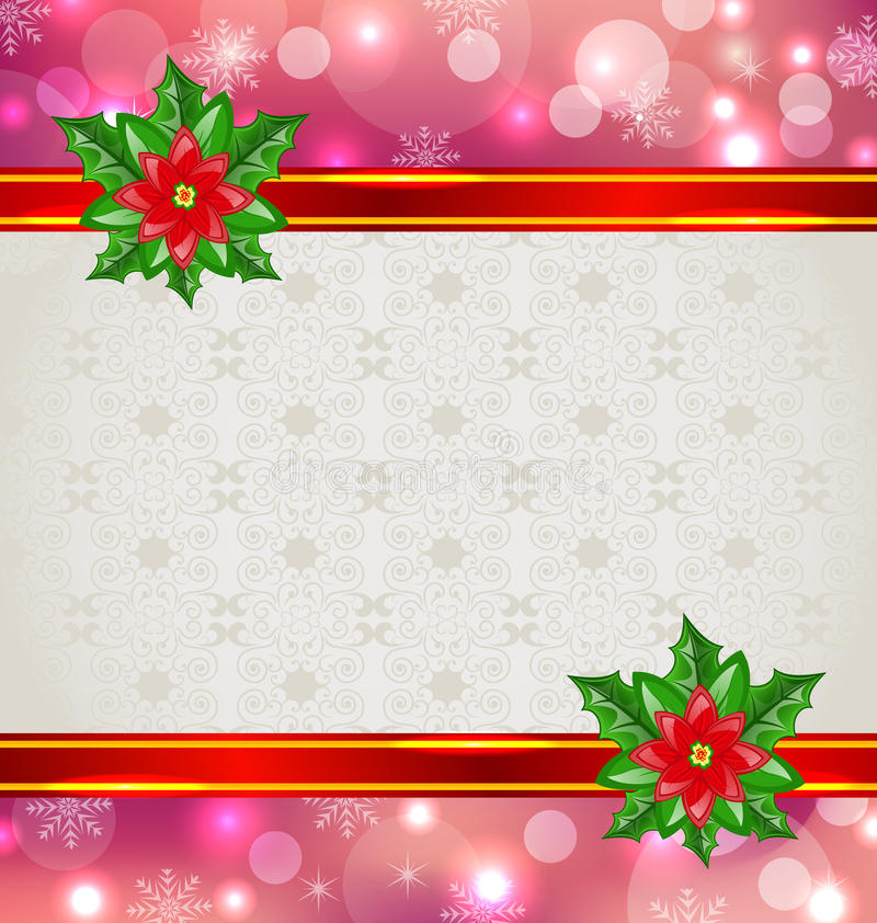 Карточка рождества шикарная с poinsettia цветка бесплатная иллюстрация