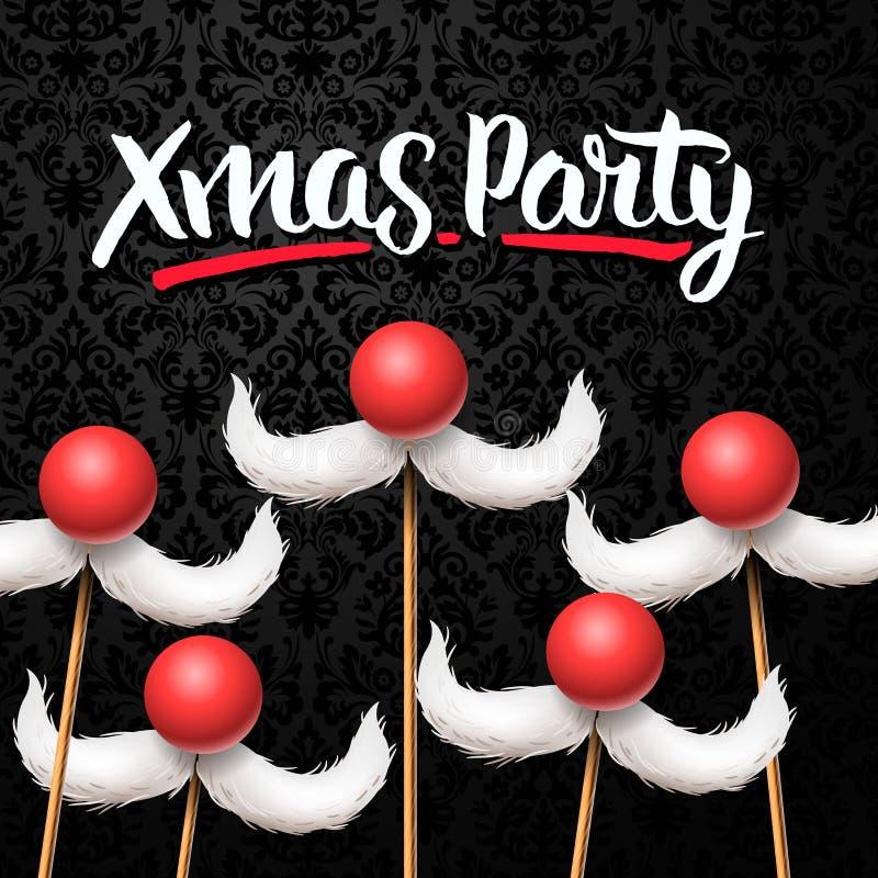 Карточка рождественской вечеринки офиса, усик Санты бесплатная иллюстрация