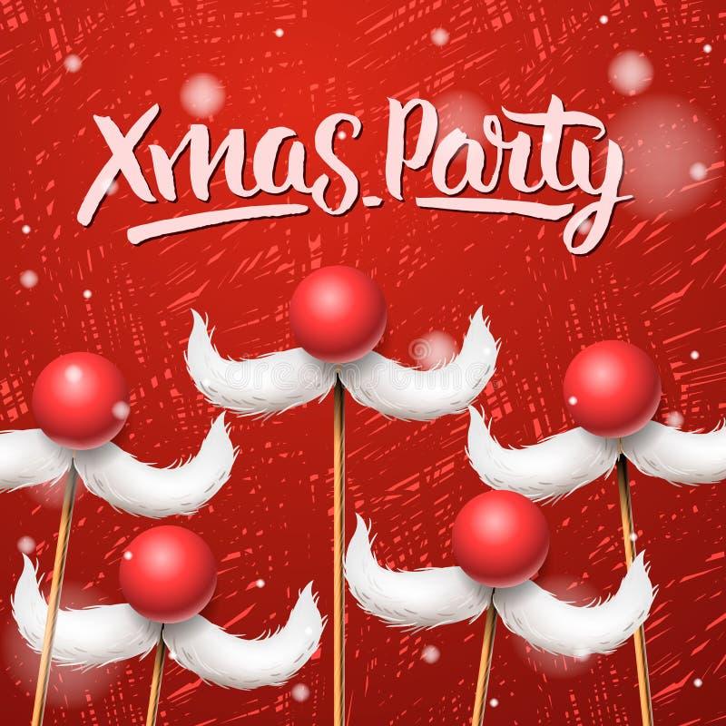 Карточка рождественской вечеринки, усик Санта Клауса иллюстрация вектора