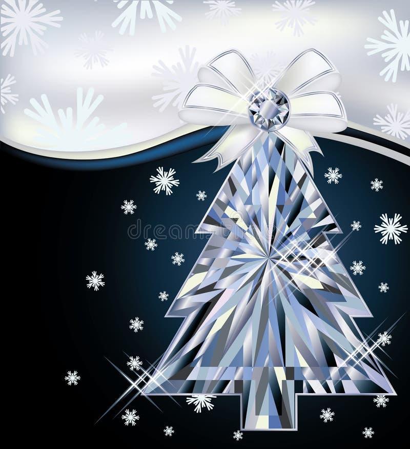 Карточка рождественской елки диаманта с смычком бесплатная иллюстрация