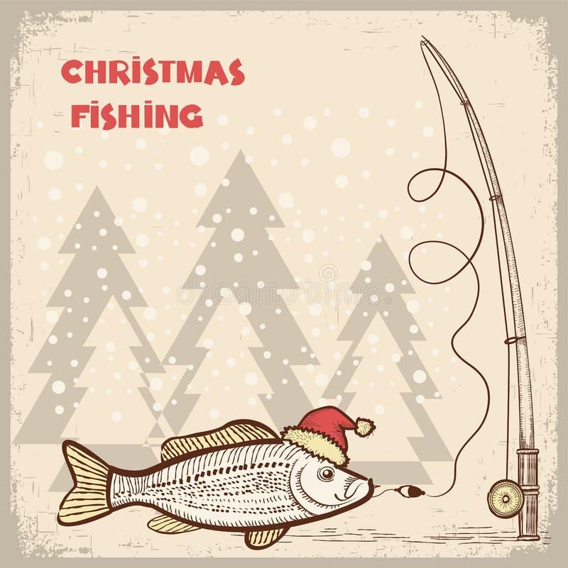 Карточка рыболовства рождества с рыбами в красной шляпе Санты. иллюстрация вектора