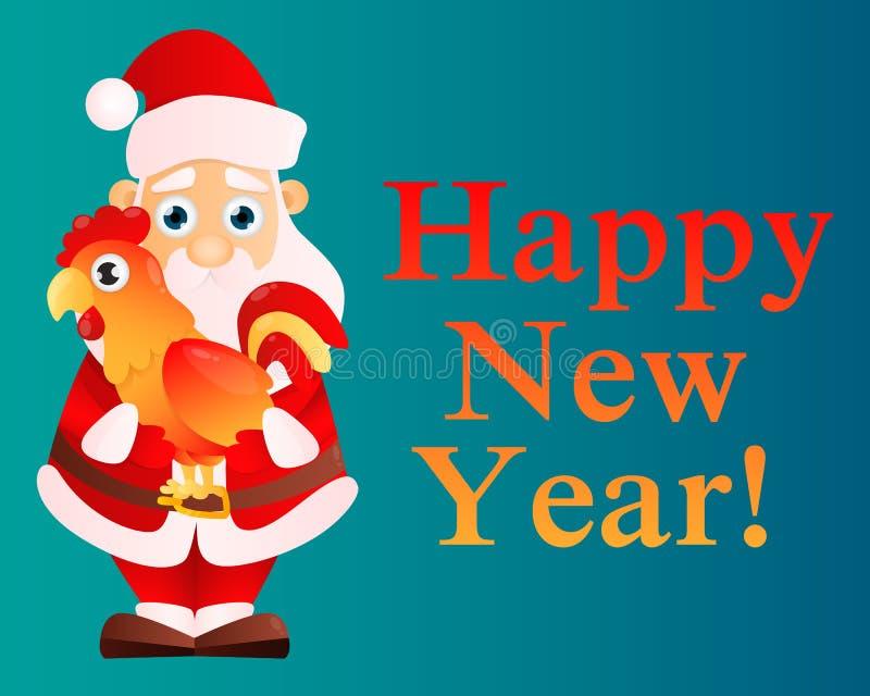 Карточка Санта Клаус с краном иллюстрация штока