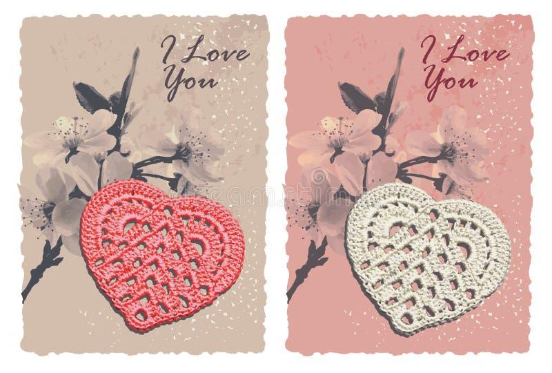 Карточка сбора винограда романтичная с сердцем иллюстрация вектора