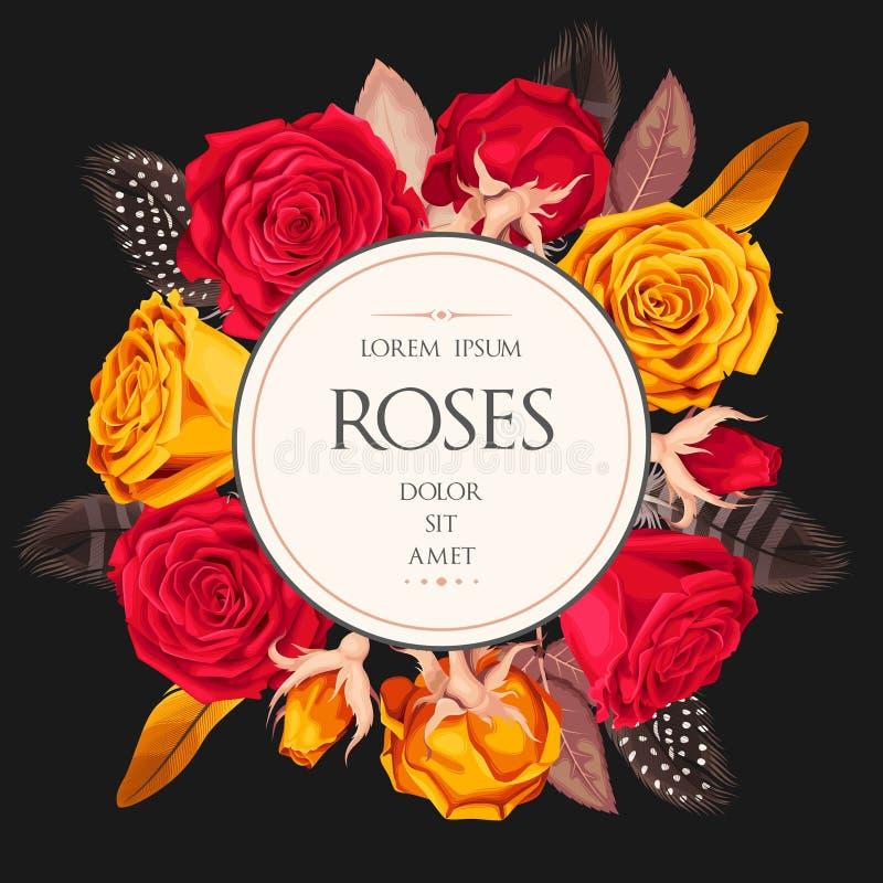 Карточка сбора винограда с розами иллюстрация штока