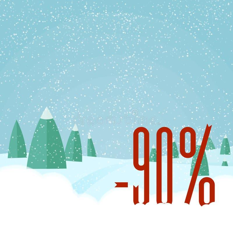 Карточка сбывания Кристмас Зимние отдыхи вектора благоустраивают предпосылку с деревьями, снежинками, падая снегом бесплатная иллюстрация