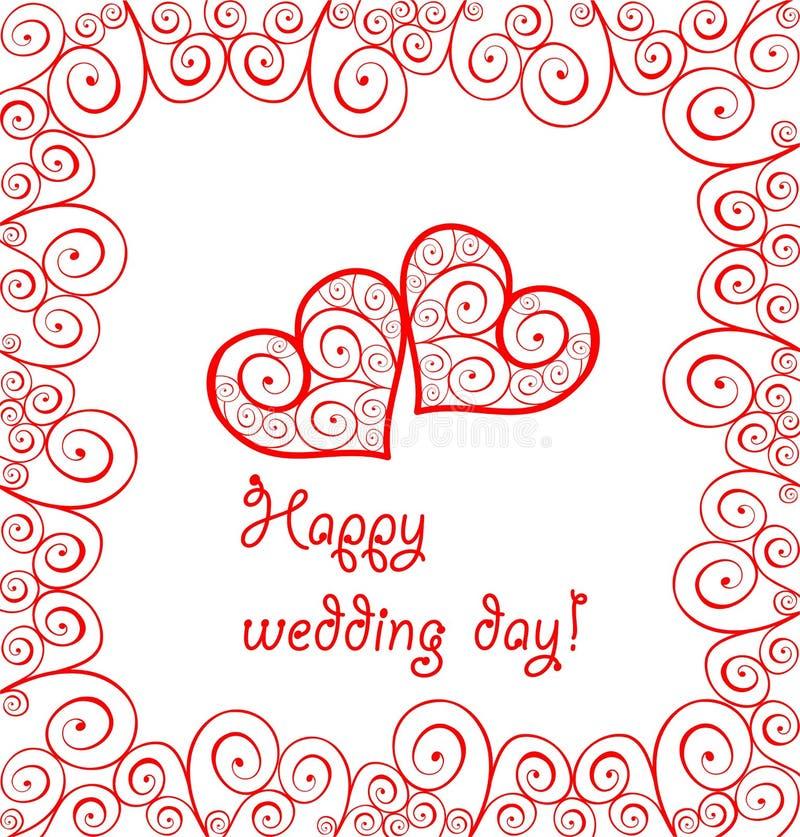 Карточка свадьбы приветствию с красными кружевными завитыми сердцами и рамкой иллюстрация вектора