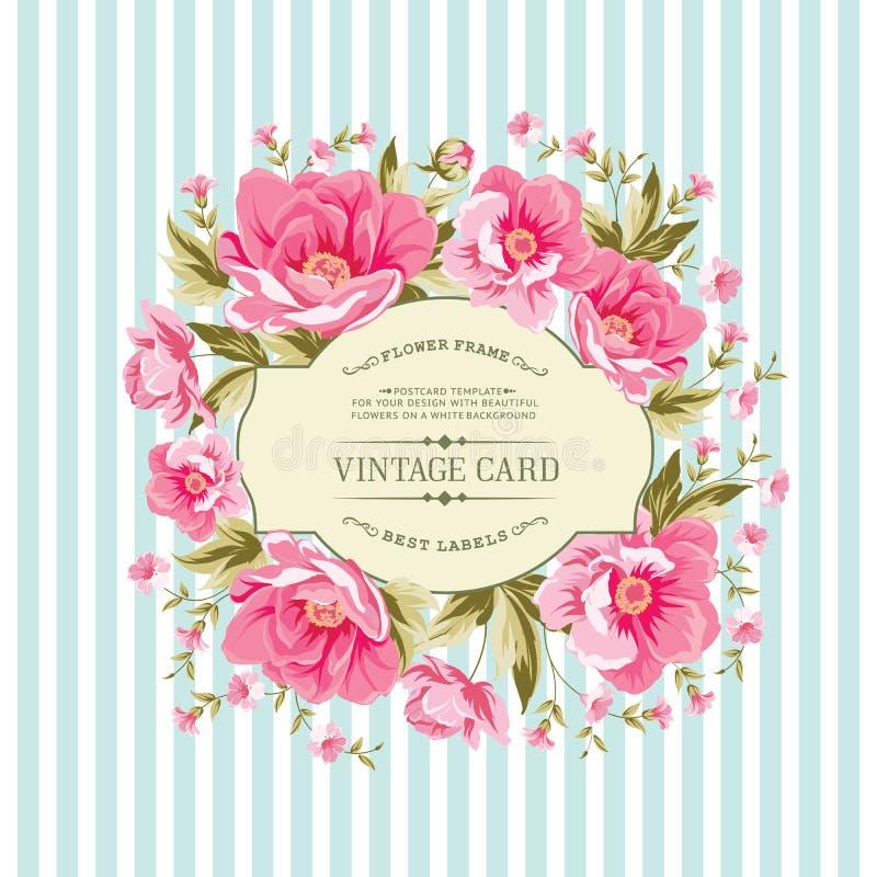 Карточка свадьбы с розовыми цветками бесплатная иллюстрация
