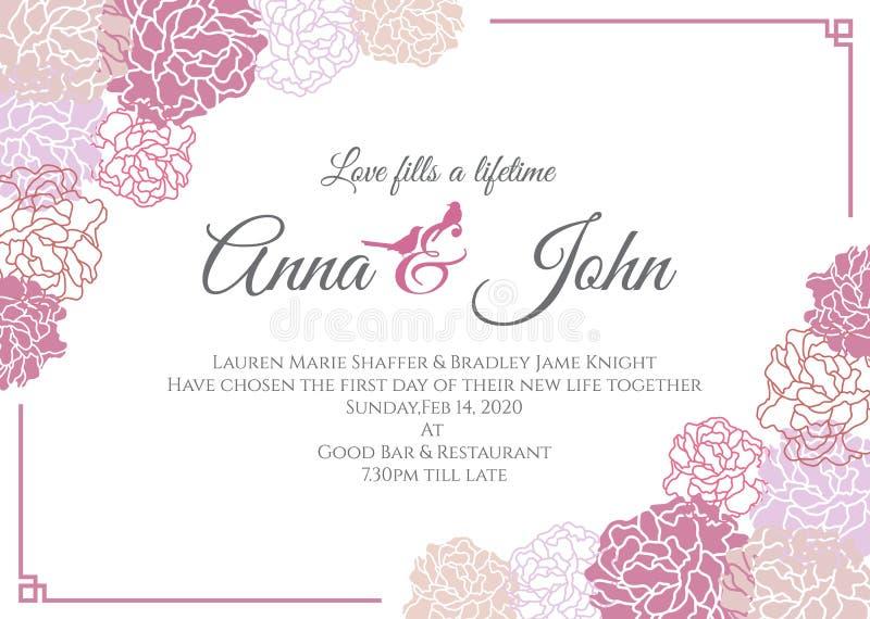 Карточка свадьбы - дизайн шаблона вектора рамки розы пинка флористический иллюстрация штока