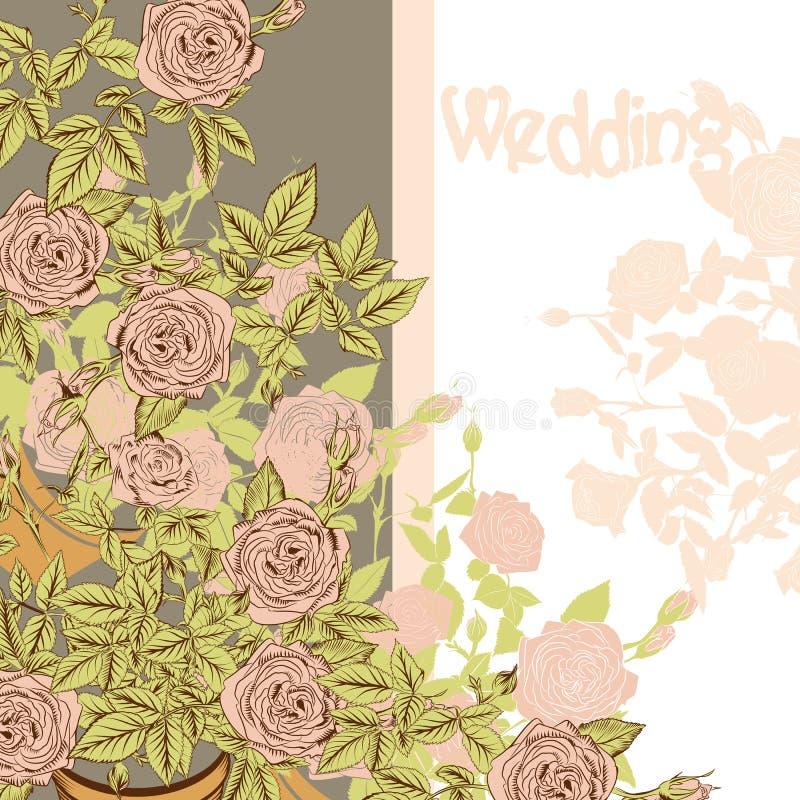 Карточка свадьбы с розами нарисованными рукой иллюстрация штока