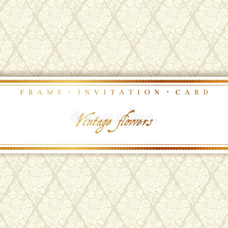 Карточка свадьбы с светлой бежевой винтажной предпосылкой бесплатная иллюстрация