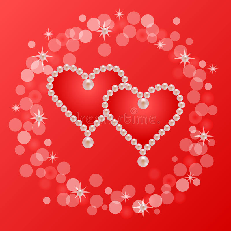 Карточка сердец жемчуга иллюстрация вектора