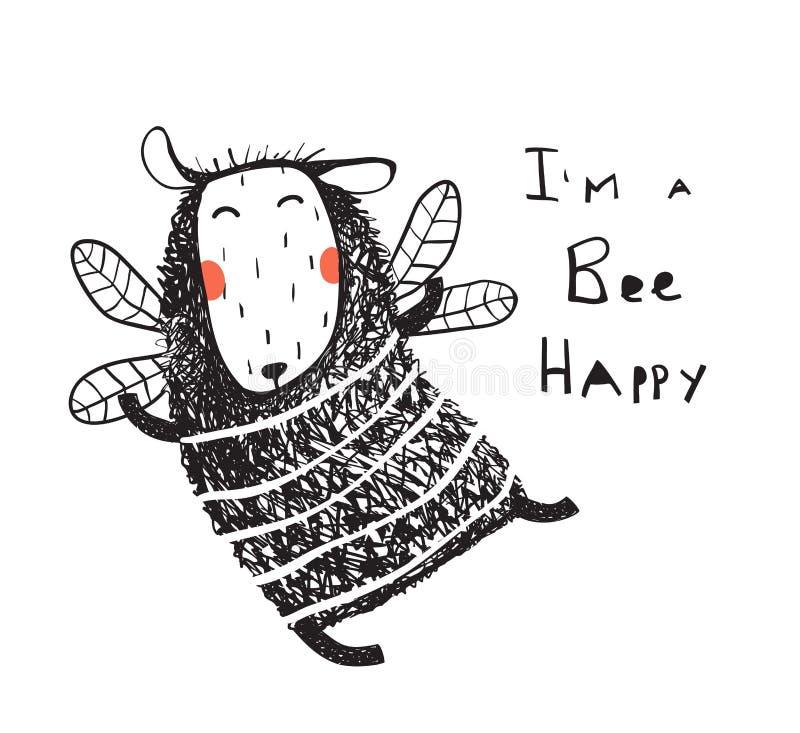 Карточка смешной милой пчелы овец счастливая иллюстрация вектора
