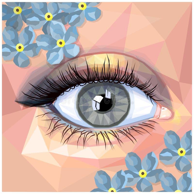 Карточка состава человеческого глаза в стиле полигона бесплатная иллюстрация