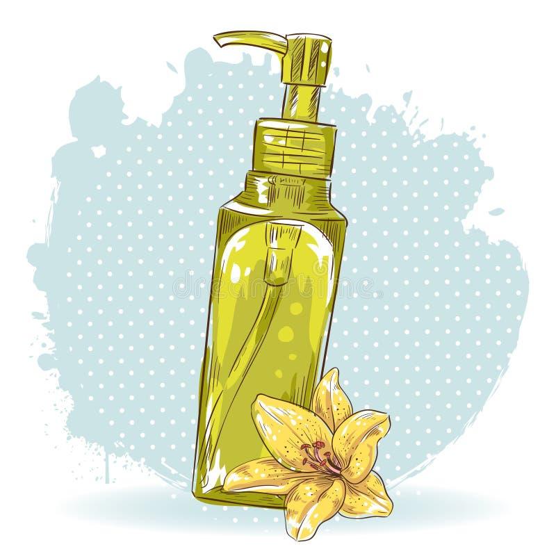 Карточка состава Skincare изолированная бутылкой иллюстрация штока