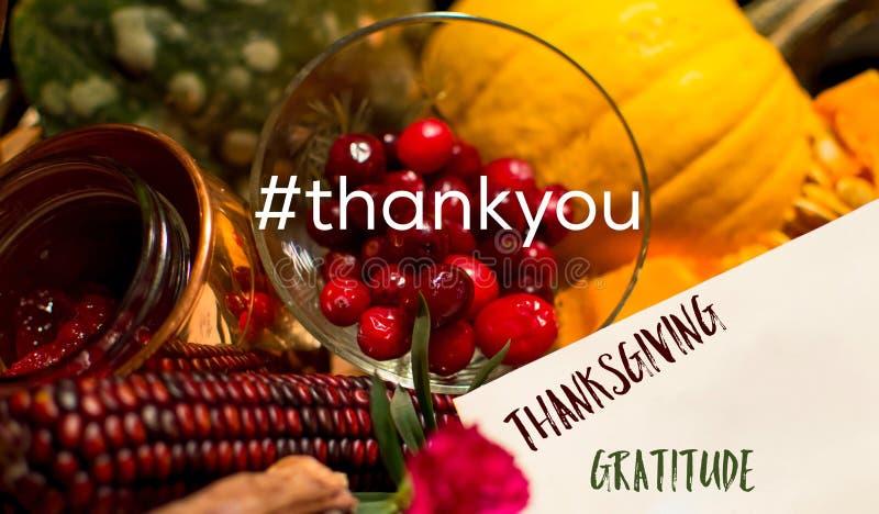 Карточка средств массовой информации благодарения социальная с hashtag и словами спасибо стоковая фотография