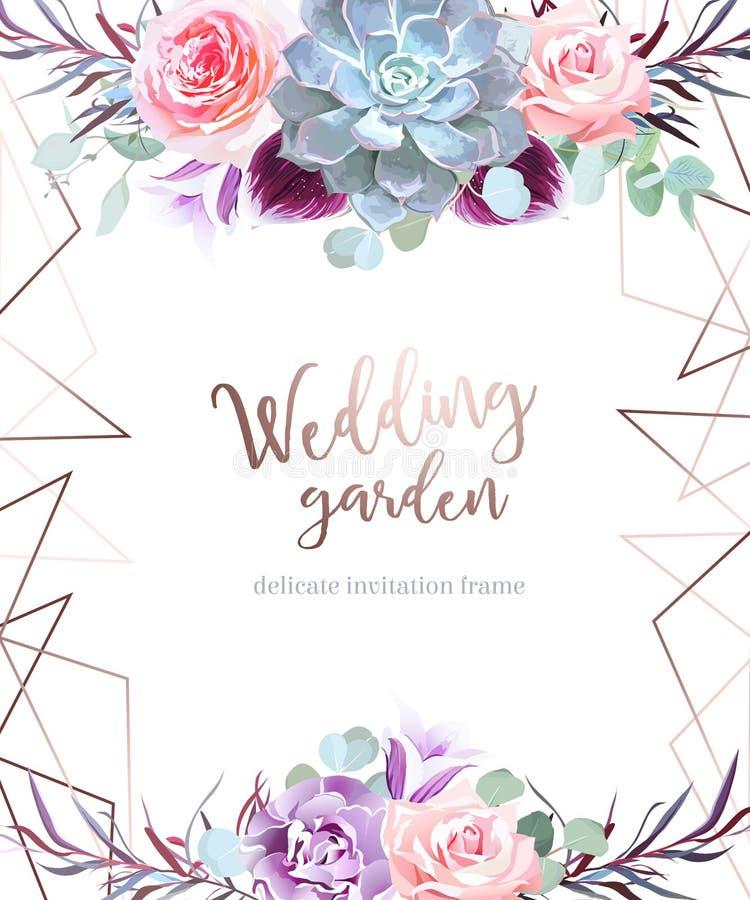 Карточка стильной сливы покрашенная и розовая цветков вектора дизайна иллюстрация штока