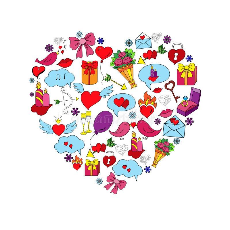 Карточка с влюбленностью нарисованной рукой doodles объекты бесплатная иллюстрация
