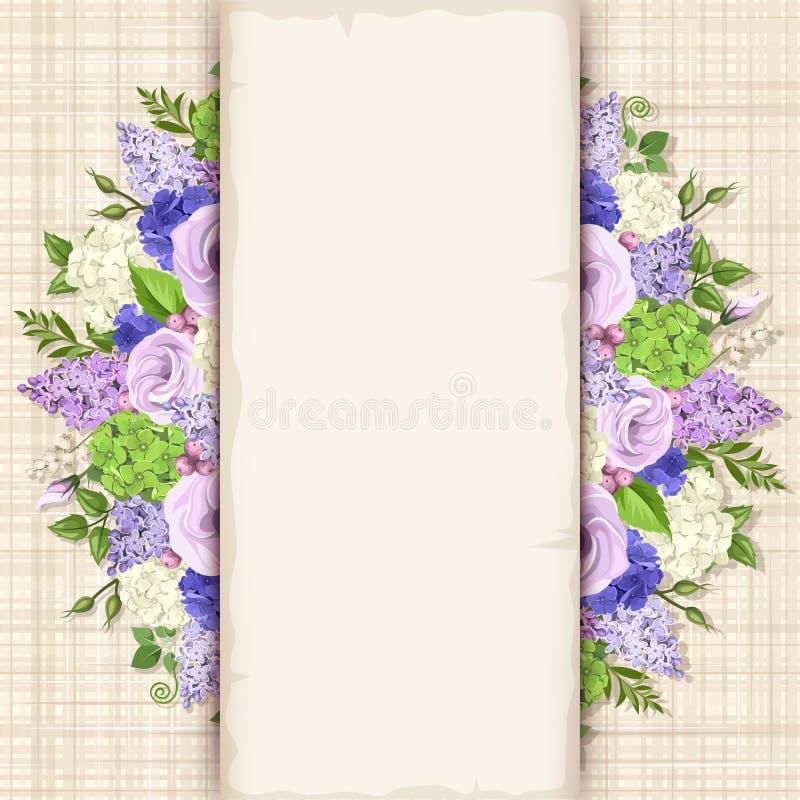 Карточка с голубыми, фиолетовыми и белыми цветками Вектор EPS-10 иллюстрация вектора