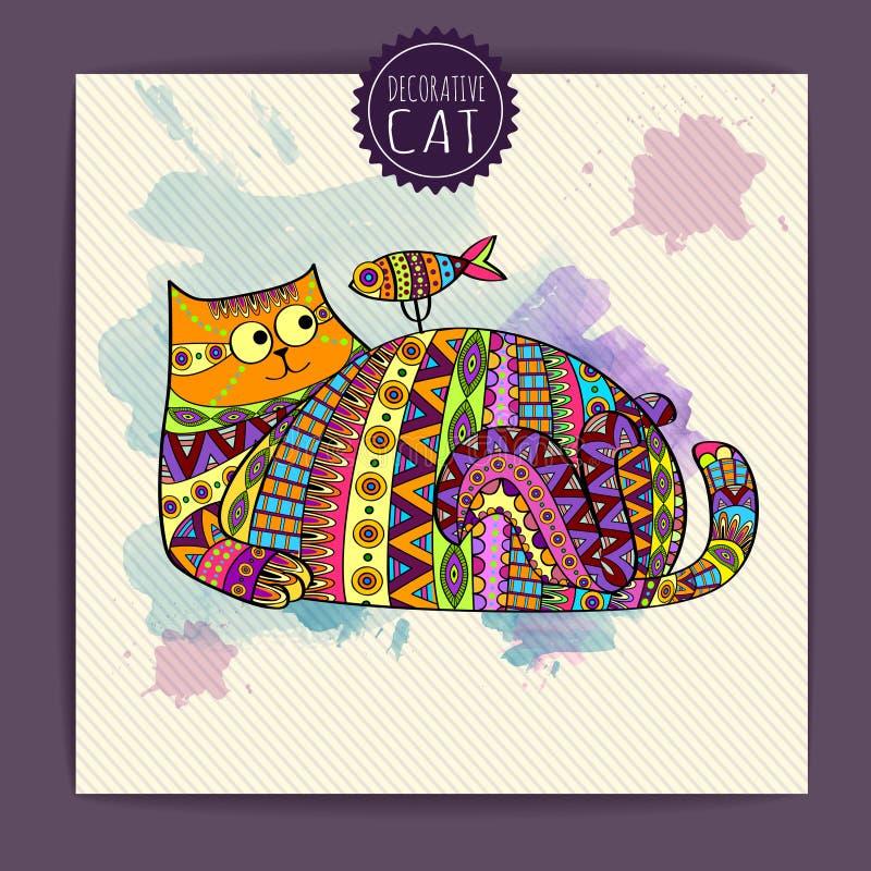 Карточка с декоративным котом иллюстрация штока