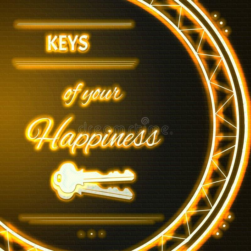 Карточка с желтыми неоновыми ключами текста вашего счастья иллюстрация штока