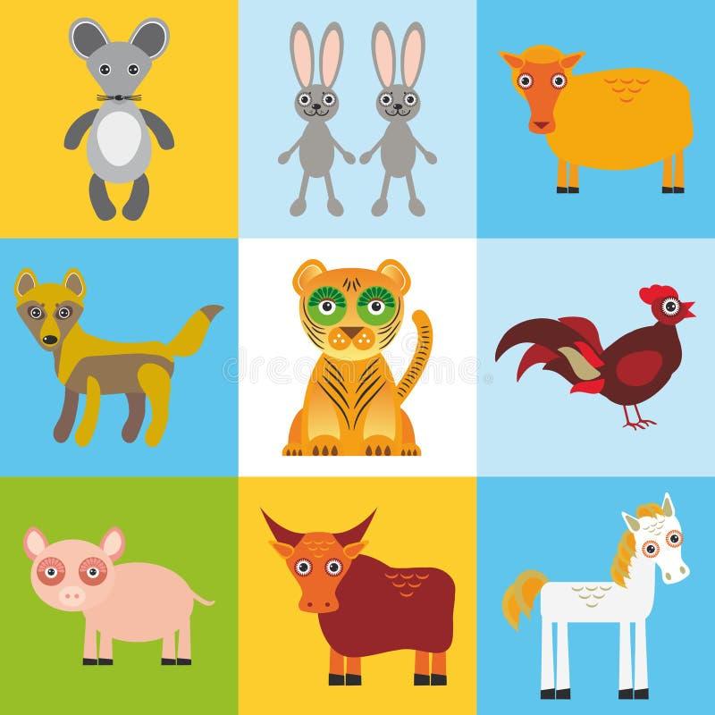 Карточка с животными, безшовная картина утиля вектор бесплатная иллюстрация
