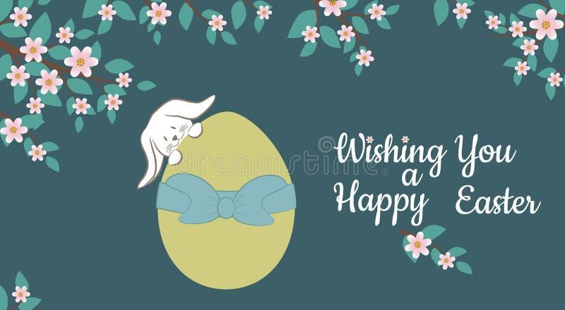 Карточка с зайчиком пасхи и красочным декоративным яичком также вектор иллюстрации притяжки corel стоковое фото