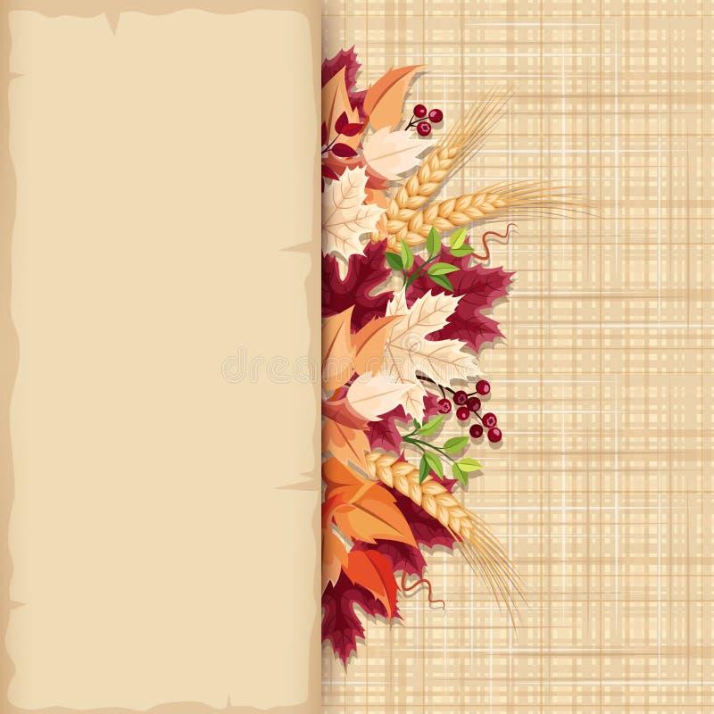 Карточка с красочными листьями осени на предпосылке увольнения Вектор EPS-10 иллюстрация вектора