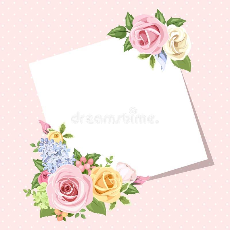 Карточка с красочными розами и цветками lisianthus Вектор EPS-10 иллюстрация вектора
