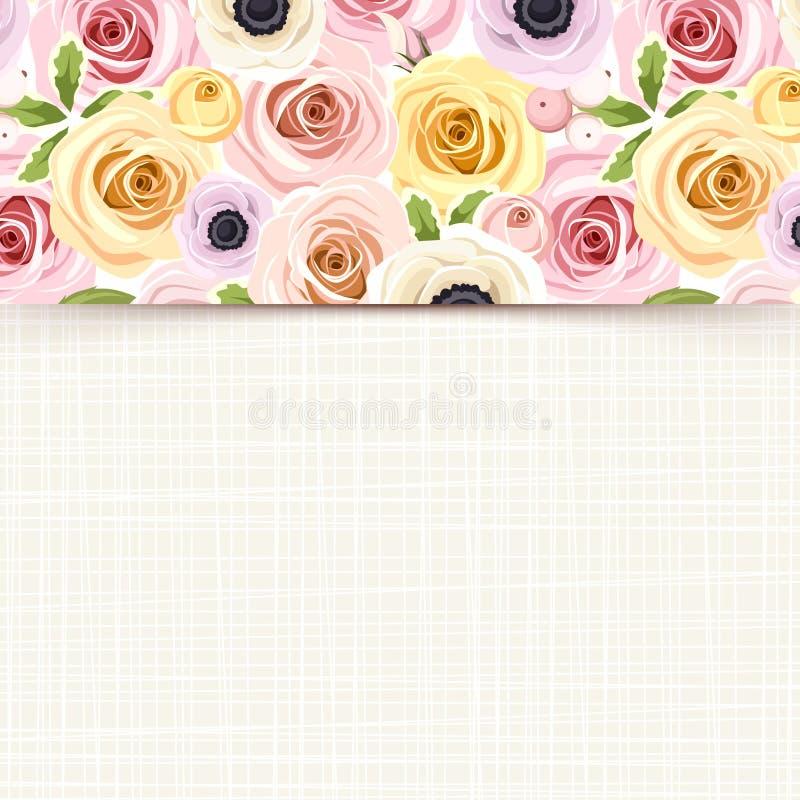 Карточка с красочными розами, lisianthus и ветреницей цветет Вектор EPS-10 бесплатная иллюстрация