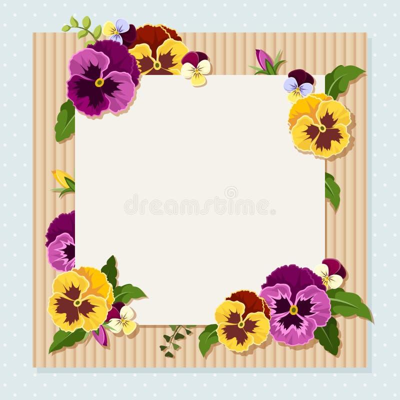 Карточка с красочными цветками pansy Вектор EPS-10 иллюстрация штока
