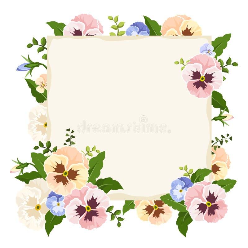 Карточка с красочными цветками pansy также вектор иллюстрации притяжки corel иллюстрация вектора