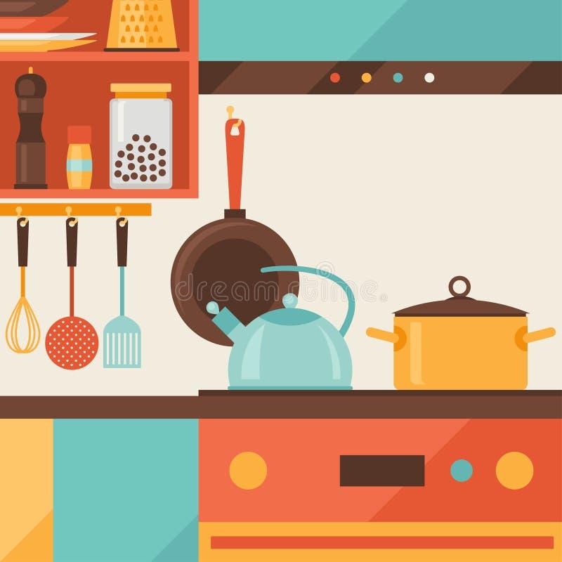 Карточка с кухни внутренними и варя утварями внутри бесплатная иллюстрация