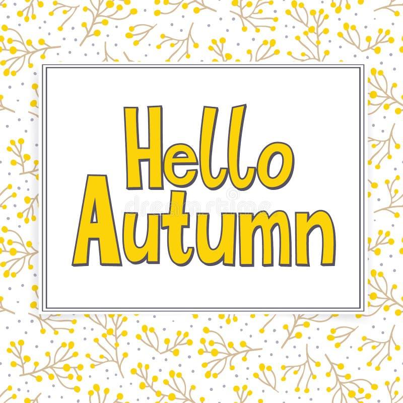 Карточка с листьями осени и падения слов здравствуйте! иллюстрация вектора