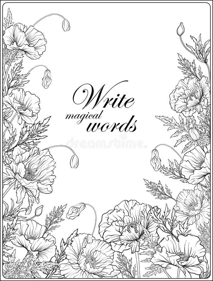 Карточка с маками конспектирует страницу расцветки чертежа руки для взрослого c иллюстрация штока