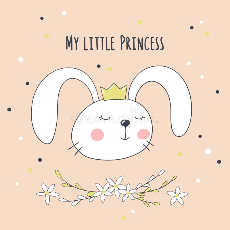 Карточка с милым зайчиком шаржа и рукописной надписью моя маленькая принцесса иллюстрация штока