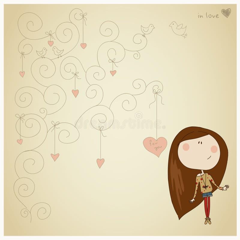 Карточка с милой девушкой иллюстрация вектора