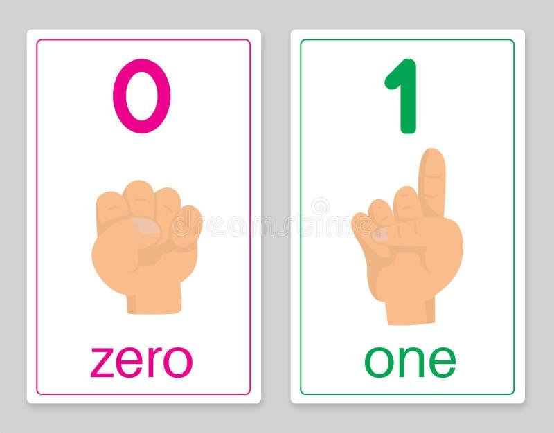 Карточка 0-1 слова иллюстрация вектора