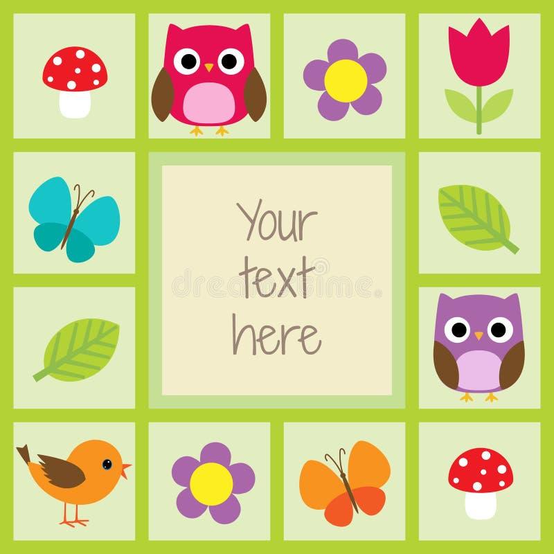 Карточка с птицами и цветками иллюстрация штока