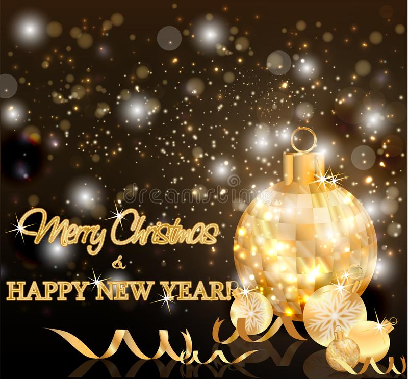 Карточка с Рождеством Христовым и Нового Года праздников, вектор бесплатная иллюстрация