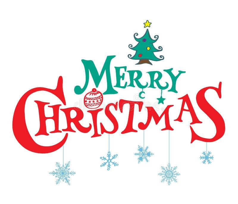 Карточка с Рождеством Христовым сбора винограда Нарисованная рукой литерность вектора Vecto иллюстрация штока