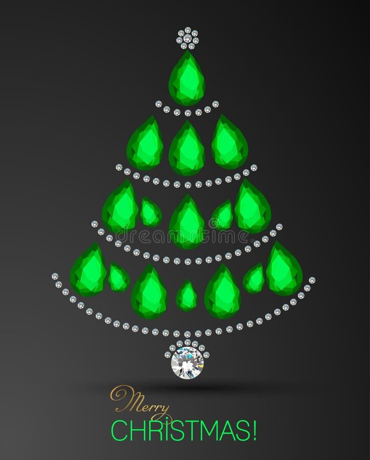 Карточка с Рождеством Христовым Рождественская елка диаманта Предпосылка поздравительной открытки рождественской елки иллюстрация вектора
