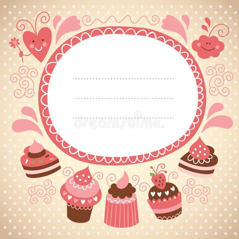 Карточка с сладостными тортами иллюстрация штока