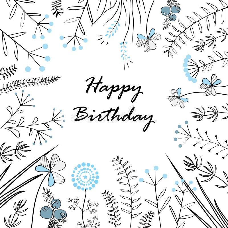 Карточка с травами и текстом medow с днем рождения также вектор иллюстрации притяжки corel Иллюстрация для поздравительных открыт иллюстрация штока