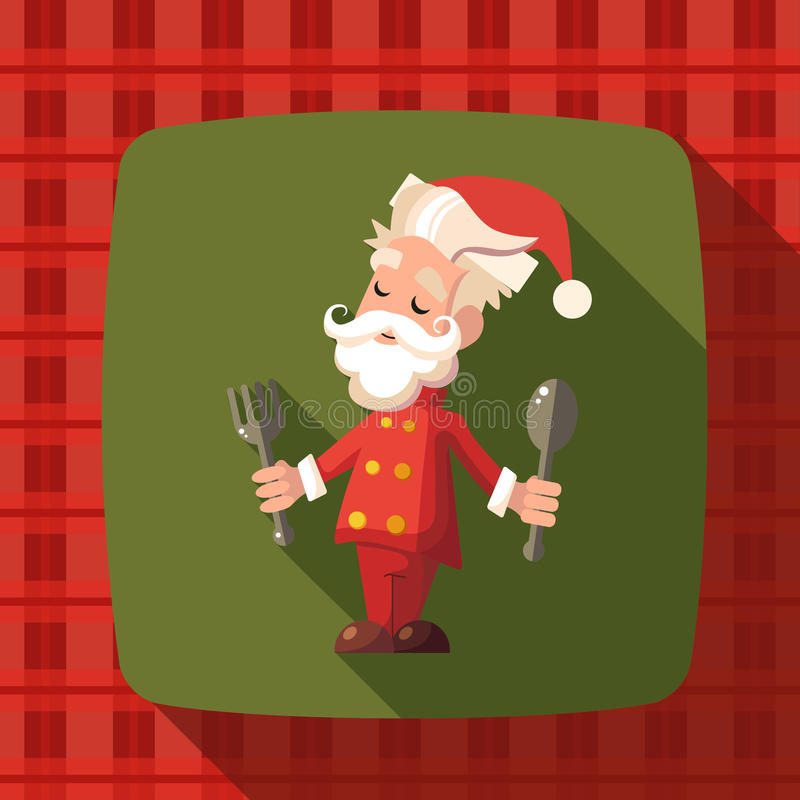 Карточка с шаржем Санта Клаусом для рождества и Новый Год party иллюстрация штока