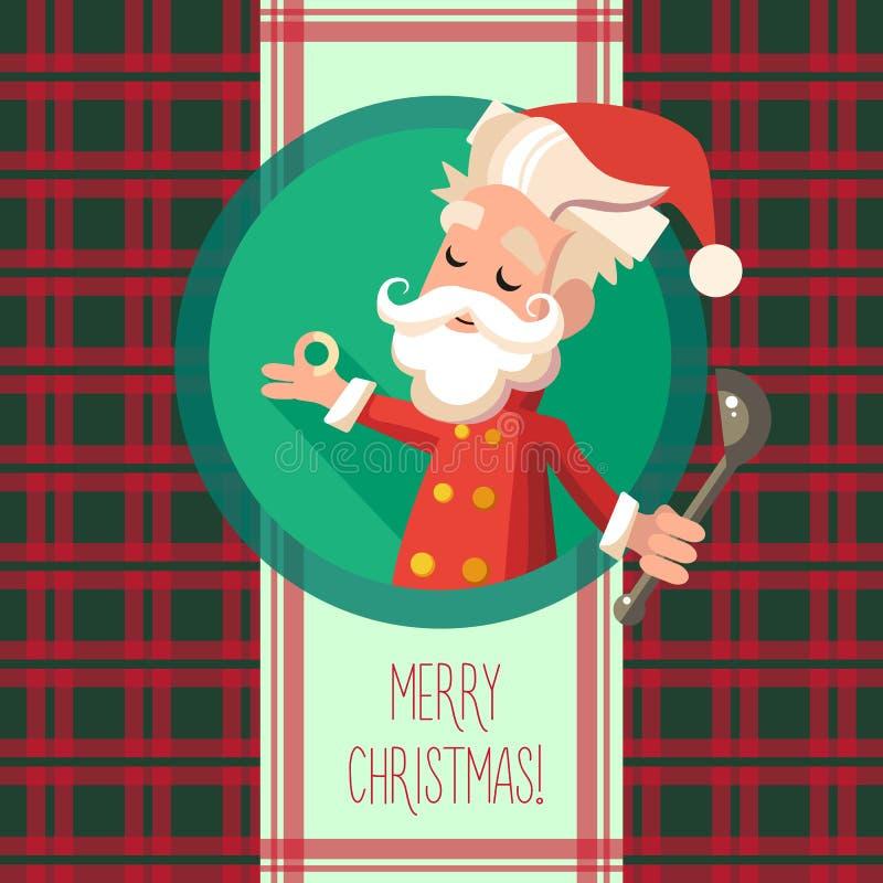 Карточка с эльфом шаржа для рождества и Новый Год party иллюстрация штока