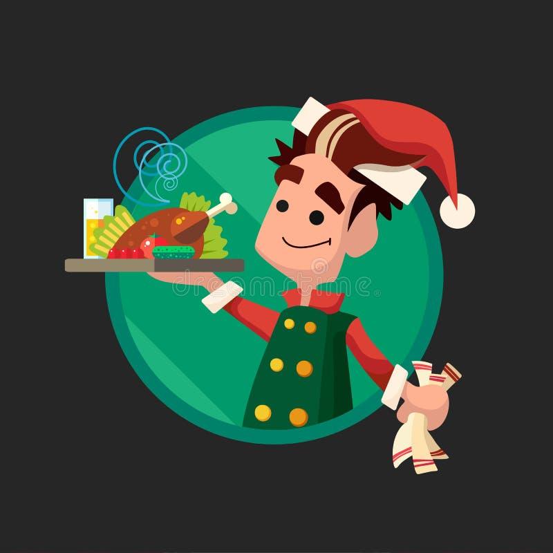 Карточка с эльфом шаржа для рождества и Новый Год party иллюстрация вектора